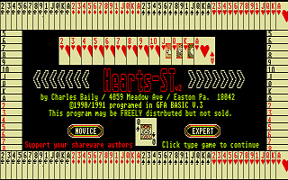 Hearts ST atari screenshot